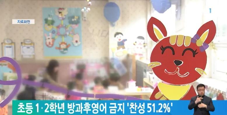 초등 1·2학년 방과후영어 금지 '찬성 51.2%'