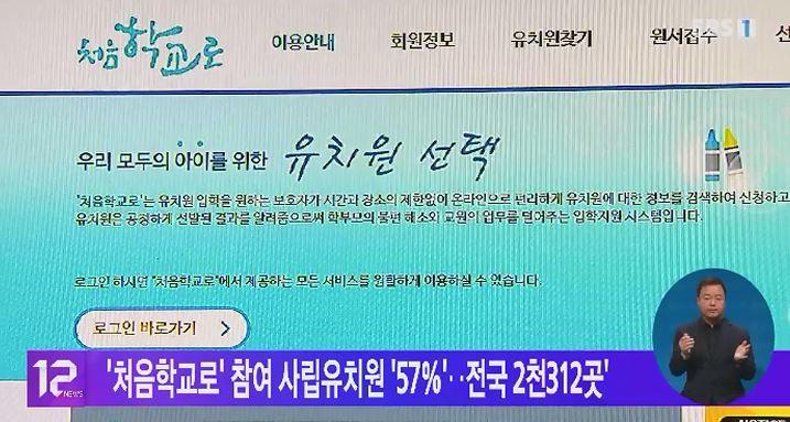'처음학교로' 참여 사립유치원 '57%'‥전국 2천312곳