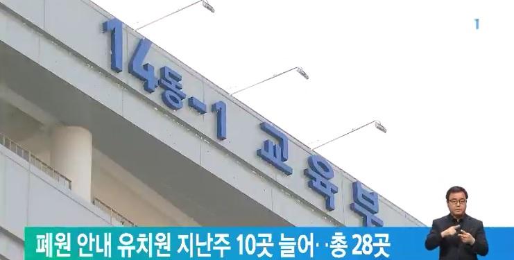 폐원 안내 유치원 지난주 10곳 늘어‥총 28곳