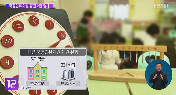 내년 국공립유치원 정원 2만 명↑‥수도권 집중 증설