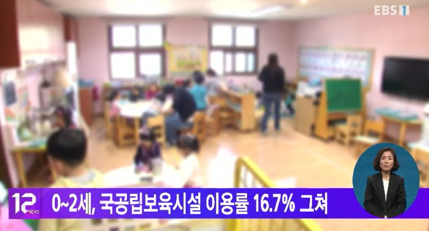 0~2세, 국공립보육시설 이용률 16.7% 그쳐
