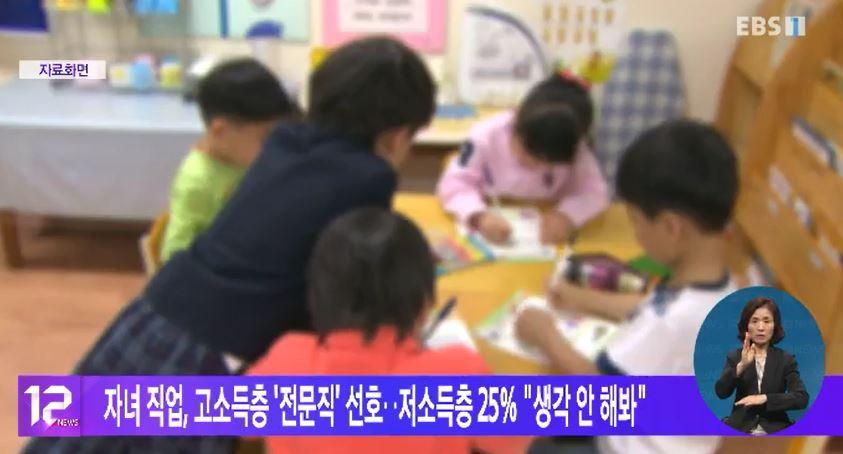 자녀 직업, 고소득층 '전문직' 선호‥저소득층 25%