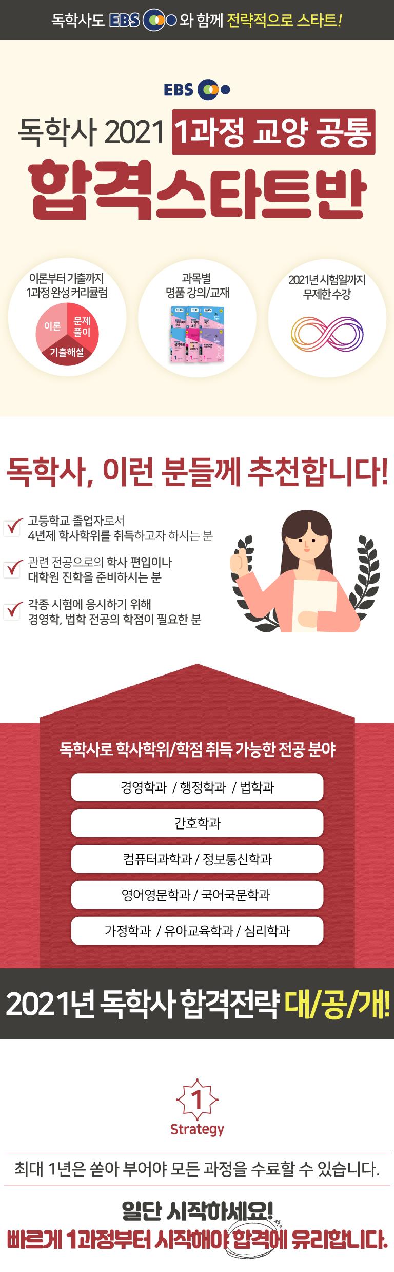EBS 독학사 2021 1과정 교양 공통 합격 스타트반